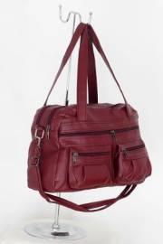 Дамска чанта с прегради цвят бордо 9152573