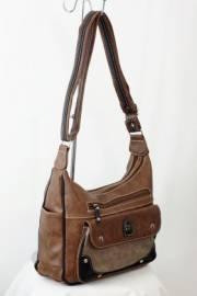Дамска чанта в кафяво и черно с прегради 9152751