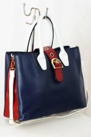 Дамска чанта в синьо, бяло и червено 9153187