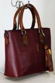 Дамска чанта в бордо и кафяво 9153261