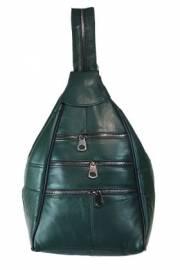 Дамска раница естествена кожа в зелено 9153423