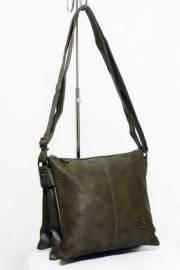 Дамска чанта с прегради цвят тъмно зелена 9153455