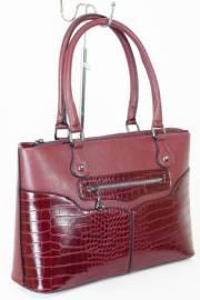 Дамска чанта с прегради цвят бордо 9153524