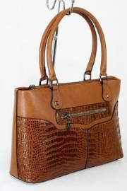 Дамска чанта с прегради цвят кафяв 9153525