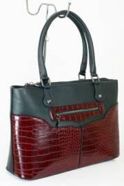 Дамска чанта с прегради в черно и бордо 9153526