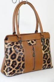 Дамска чанта кафяв цвят с прегради   9153528