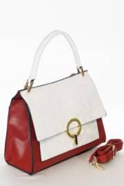 Дамска чанта в бяло и червено 9154056