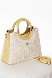 Дамска чанта в бяло и жълто 9154076