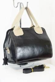 Дамска чанта от естествена кожа в черно и бежово 9154146
