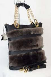 Дамска чанта от естествена кожа и естествен пух 9154210