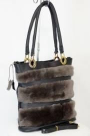 Дамска чанта от естествена кожа и естествен пух 9154216