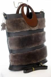 Дамска чанта от естествена кожа и естествен  пух 9154217