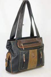 Дамска чанта в черно и кафяво 9154219