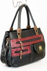 Дамска чанта вчерно,бордо и кафяво 9154222