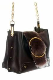 Дамска чанта от естествена кожа и естествен пух 9154241